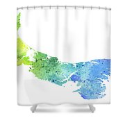 Watercolor Map Of Prince Edward Island, Canada In Blue And Green  Shower Curtain
