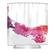 Watercolor Map Of Prince Edward Island, Canada In Orange, Red And Purple Shower Curtain