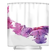 Watercolor Map Of Prince Edward Island, Canada In Pink And Purple  Shower Curtain