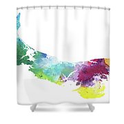 Watercolor Map Of Prince Edward Island, Canada In Rainbow Colors  Shower Curtain