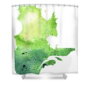 Watercolor Map Of Quebec, Canada In Green  Shower Curtain