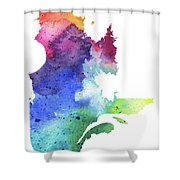 Watercolor Map Of Quebec, Canada In Rainbow Colors  Shower Curtain