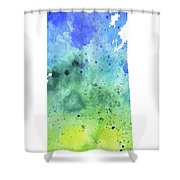 Watercolor Map Of Saskatchewan, Canada In Blue And Green  Shower Curtain