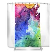 Watercolor Map Of Saskatchewan, Canada In Rainbow Colors  Shower Curtain