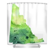 Watercolor Map Of Yukon, Canada In Green Shower Curtain