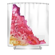 Watercolor Map Of Yukon, Canada In Orange, Red And Purple  Shower Curtain