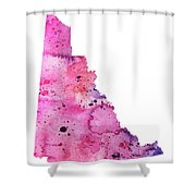 Watercolor Map Of Yukon, Canada In Pink And Purple  Shower Curtain