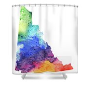 Watercolor Map Of Yukon, Canada In Rainbow Colors  Shower Curtain