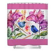 Watercolor - Masked Flowerpiercers With Flowers Shower Curtain
