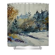 Watercolor Medieval Castle Of Veves  Shower Curtain