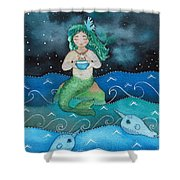 Watercolor Mermaid Feeding Her Narwhals Shower Curtain