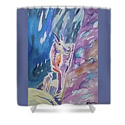 Watercolor - Mountain Goat With Young Shower Curtain