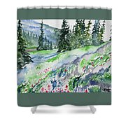 Watercolor - Mountain Pines And Indian Paintbrush Shower Curtain