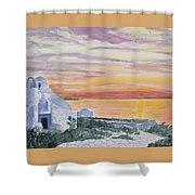 Watercolor - Mykonos Sunset Shower Curtain