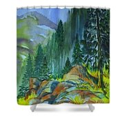 Watercolor Of Mountain Forest Shower Curtain