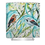 Watercolor - Ornate Antwren In The Bamboo Shower Curtain