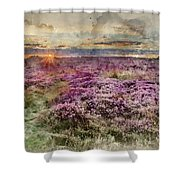 Watercolor Painting Of Beautiful Dawn Sunrise Landscape Image Of Heather On Higger Tor In Summer In  Shower Curtain