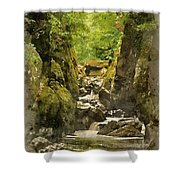 Watercolor Painting Of Beautiful Ethereal Landscape Of Deep Sided Gorge With Rock Walls And Stream F Shower Curtain
