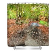 Watercolor Painting Of Beautiful Landscape Image Of Forest Covered In Autumn Fall Color Contrasting  Shower Curtain
