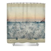 Watercolor Painting Of Beautiful Seascape Image Of Calm Ocean At Sunset Shower Curtain