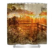 Watercolor Painting Of Beautiful Sunrise Landscape Over Foggy English Countryside With Glowing Sun Shower Curtain