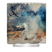 Watercolor Painting Of Flight Formation Of Battle Of Britain World War Two Consisting Of Lancaster B Shower Curtain