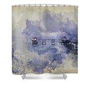 Watercolor Painting Of Landscape Of Victorian Pier With Moody Sk Shower Curtain