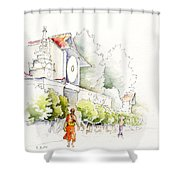 Watercolor Painting Of Monk Shower Curtain