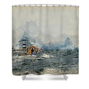 Watercolor Painting Of Pleasure Cruise Boat On Menai Straits In Anglesey Wales. Shower Curtain