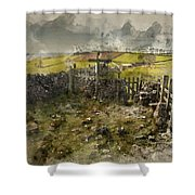 Watercolor Painting Of Public Footpath Signposts In Landscape In Shower Curtain