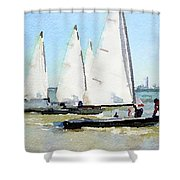Watercolor Painting Of Small Dinghy Boats Shower Curtain