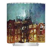 Watercolor Painting Of Spooky Houses At Night Shower Curtain