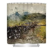 Watercolor Painting Of Stunning Landscape Of Chrome Hill And Parkhouse Hill Dragon's Back In Peak Di Shower Curtain