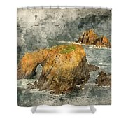 Watercolor Painting Of Stunning Sunrise Landscape Of Land's End In Cornwall England Shower Curtain
