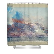 Watercolor Painting Of Stunning Sunset Cloud Formation Over Calm Sea Landscape Shower Curtain