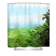 Watercolor Painting Of The English Countryside Shower Curtain