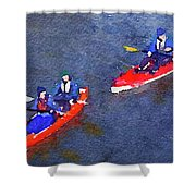 Watercolor Painting Of Two Canoes Shower Curtain