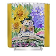 Watercolor - Pika With Wildflowers Shower Curtain by Cascade Colors