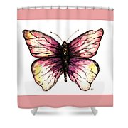 Watercolor Pink Butterfly Shower Curtain