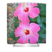 Watercolor Pink Hibiscus Blooms Vertical Shower Curtain