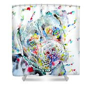 Watercolor Pit Bull.2 Shower Curtain