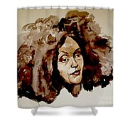 Watercolor Portrait Of A Woman With Bad Hair Day Shower Curtain