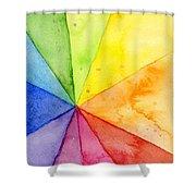 Watercolor Rainbow Beachball Pattern Shower Curtain