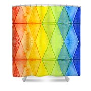Watercolor Rainbow Pattern Geometric Shapes Triangles Shower Curtain