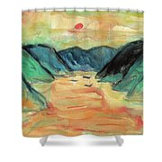 Watercolor River Scenery Shower Curtain