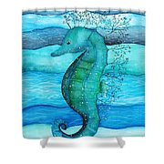 Watercolor Saehorse Shower Curtain