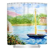 Watercolor Sail Shower Curtain