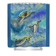 Watercolor - Sea Turtles Swimming Shower Curtain