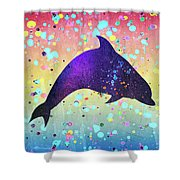 Watercolor Silhouette - Dolphin  Porpoise Shower Curtain