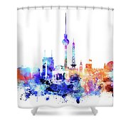 Watercolor Skyine Of Berlin, Germany Shower Curtain